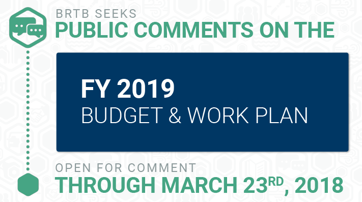 BRTB seeks public comments for updates to FY 2019 budget and work program